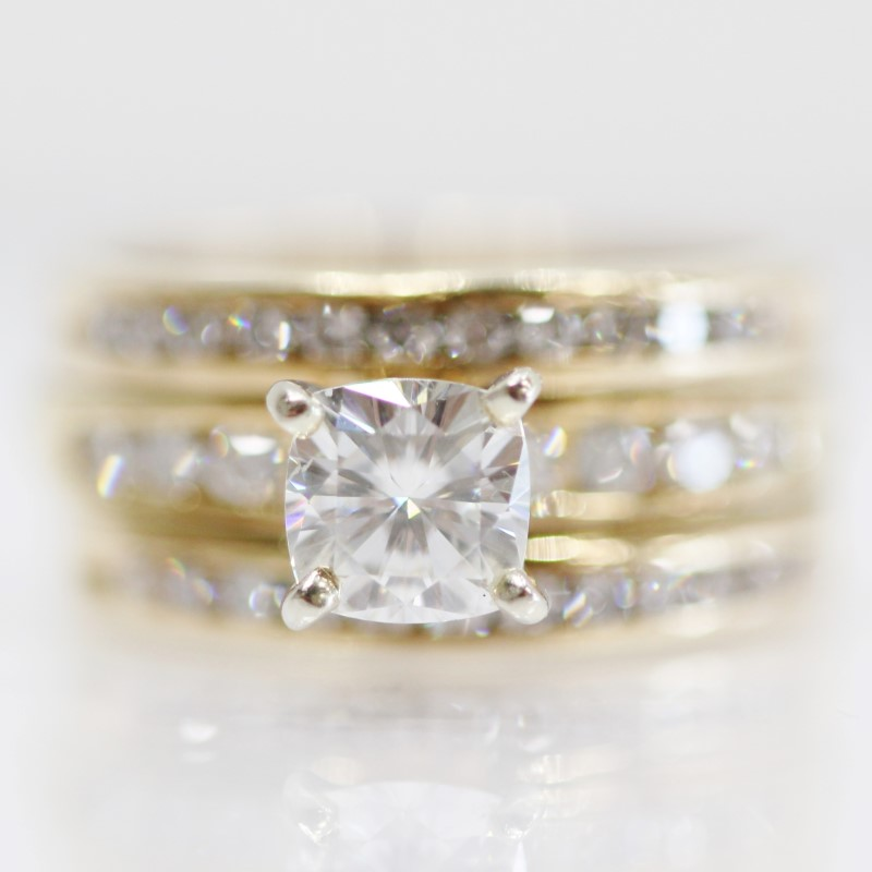 Moissanite (.77ct.) & Diamond Wedding Set in 14K Yellow Gold Size:7