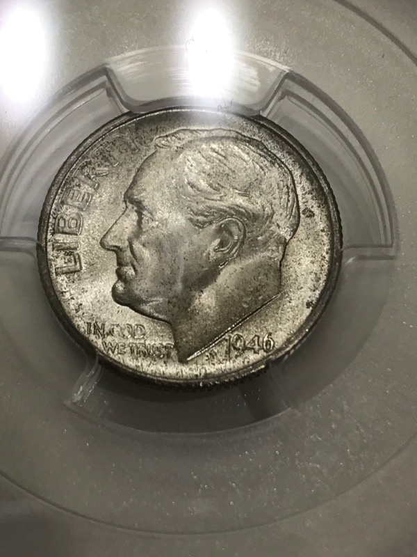 1946-S Roosevelt Dime 10c PCGS Graded MS65FB Full Bands 90% Silver