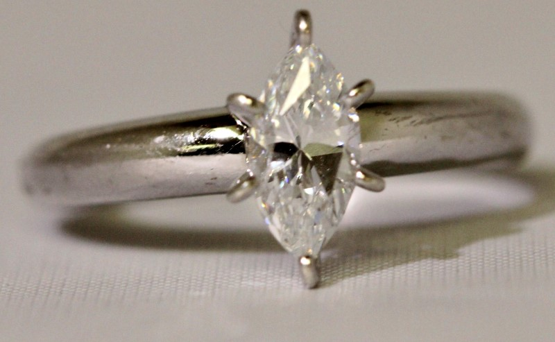 Sterling Silver 6-Prong Set Marquise Cubic Zirconia CZ Solitaire Engagement Ring