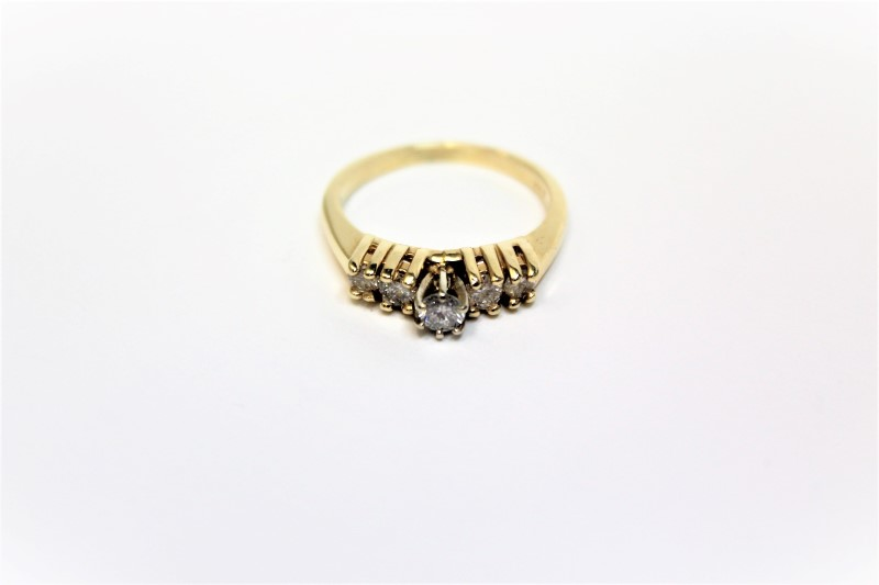 Lady's Diamond Fashion Ring 5 Diamonds .48 Carat T.W. 14K Yellow Gold 3.7g