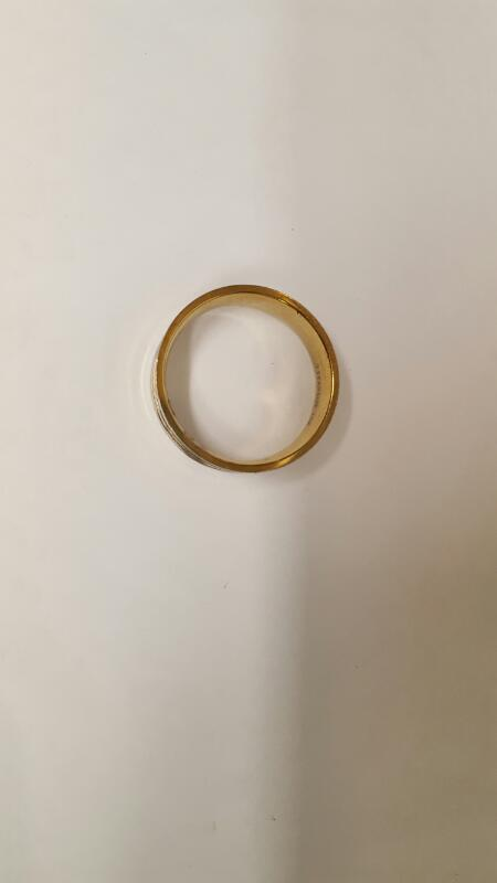 Gent's Gold/Titanium Wedding Band. 18K Yellow Gold. 5.26g Total Weight. Size:17