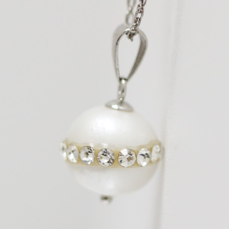 "Miners Cut Pearl Pendant With 17"" Sterling Silver Chain"