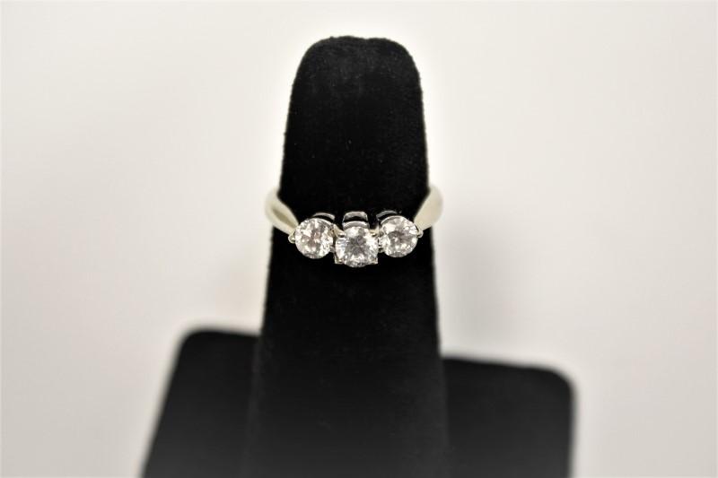 Lady's Diamond Engagement Ring 3 Diamonds .93 Carat T.W. 18K White Gold 3.5g