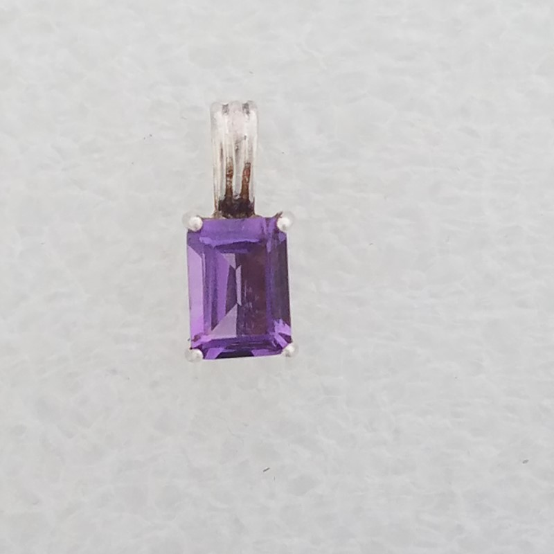 Simple & Elegant Sterling Silver Emerald-Cut Amethyst Solitaire Pendant