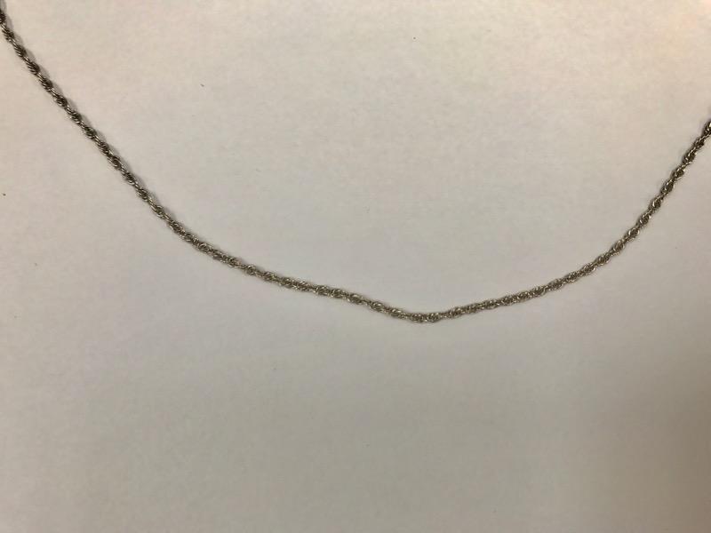 "16"" Unisex 18K White Gold Fine Rope Chain"