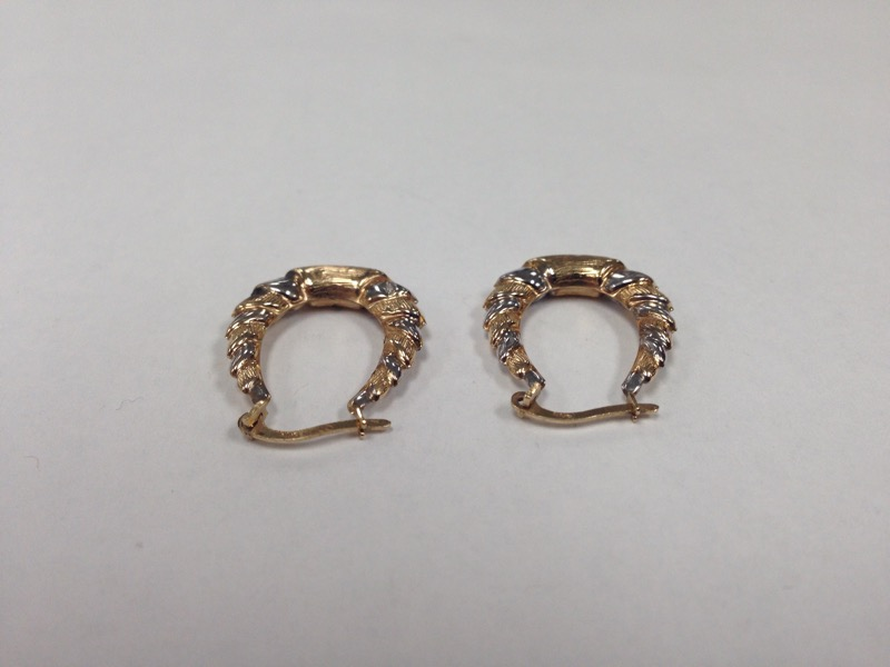 2 TONE 10K HOOP EARRINGS
