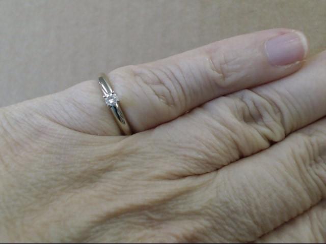 NATURAL DIAMOND ENGAGEMENT WEDDING RING 14K WHITE GOLD 2g SIZE 4.5