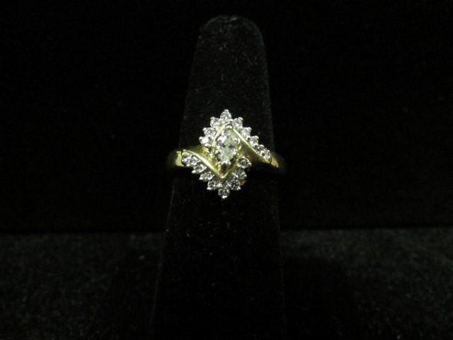 Lady's Diamond Fashion Ring 19 Diamonds 0.3 Carat T.W. 14K Yellow Gold 4.4g