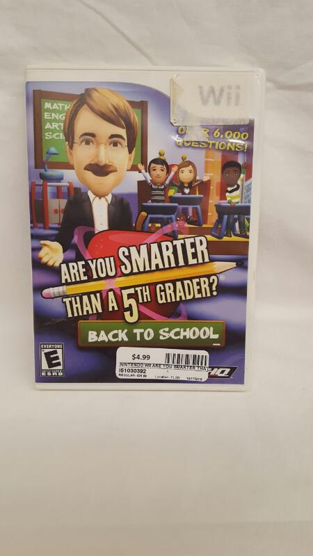Nintendo Wii Game ARE YOU SMARTER THAN A FIFTH GRADER Back to School