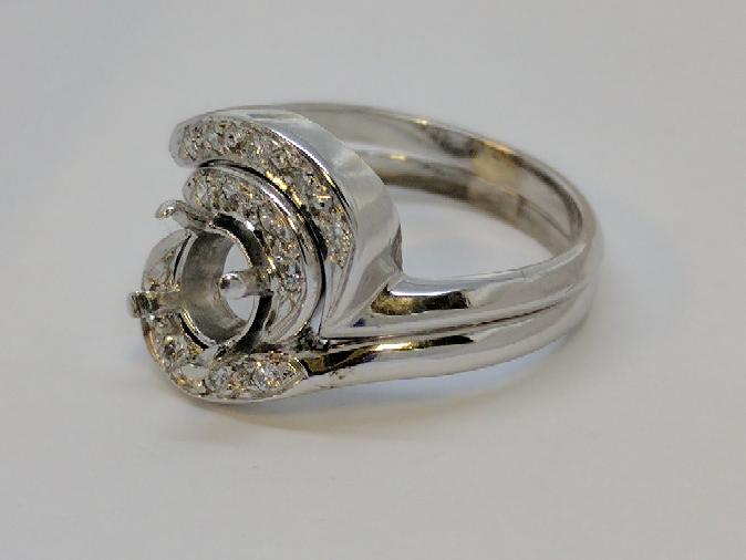 Lady's Diamond Ring Mount 13 Diamonds .39 Carat T.W. 14K White Gold 6g