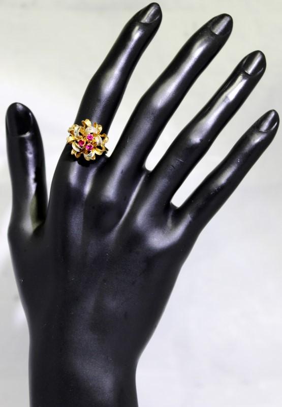 18K 2-Tone Yellow/White Gold Ruby Statement Satin Finish Bow Ring Size 8.25