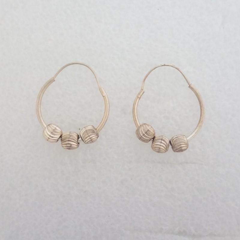 Sterling Silver Diamond Cut Triple Ball Bead Hoop Earrings