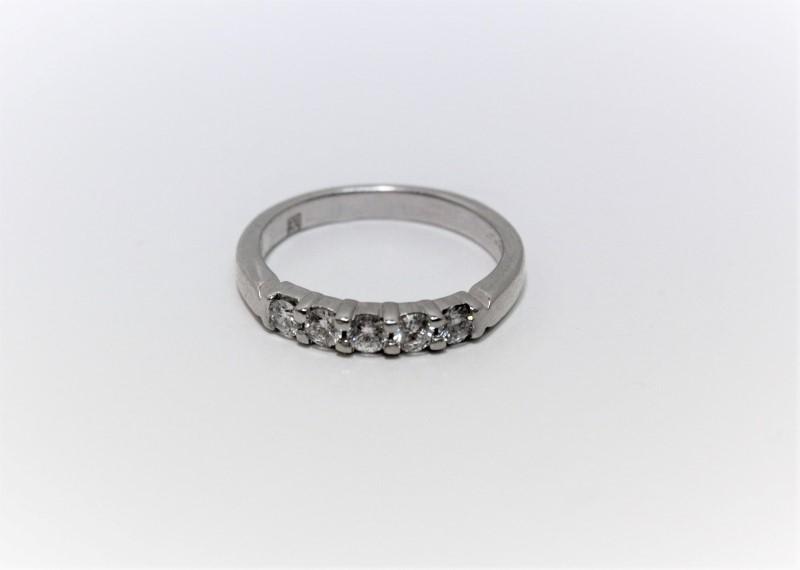 Lady's Platinum-Diamond Wedding Band 5 Diamonds .45 Carat T.W. 950 Platinum