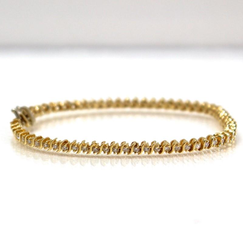"7"" 14K Yellow Gold Round Brilliant Diamond Bracelet"