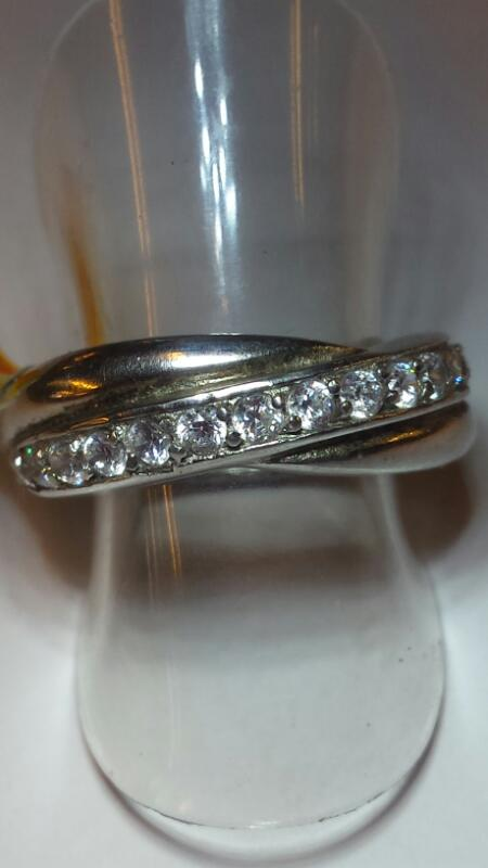 STERLING AND CRYSTAL CHANNEL OVER LAP BAND SIZE 6
