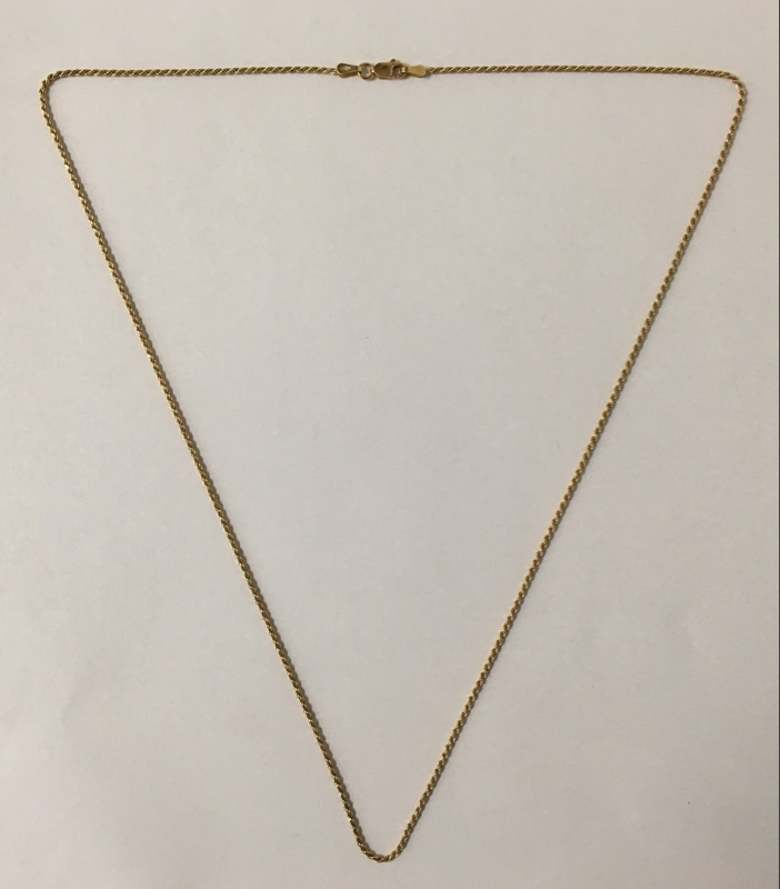 "22"" 18K Gold Rope Chain"