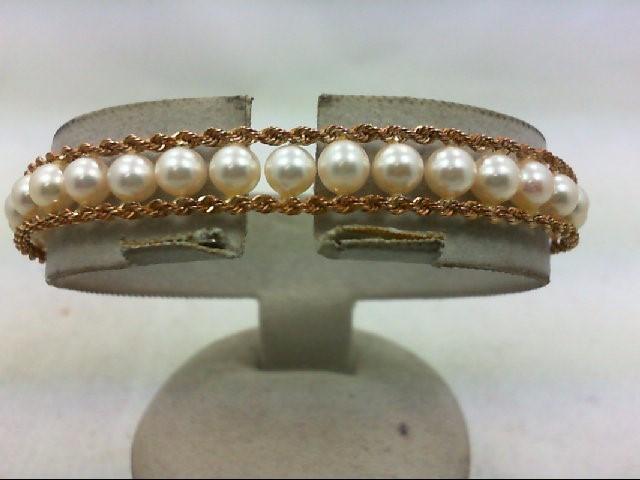 Pearl Gold-Stone Bracelet 14K Yellow Gold 10.8g