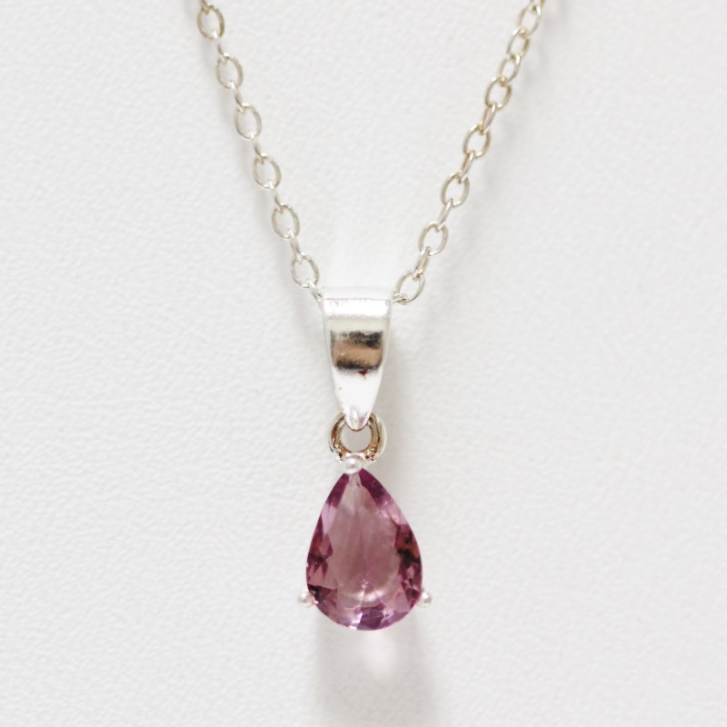 "18"" Sterling Silver Tear Drop Amethyst Pendant & Chain Necklace"