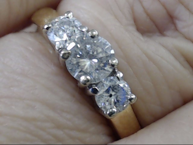 ESTATE 3 NATURAL DIAMOND 0.87 CTW ENGAGEMENT WED RING 14K GOLD SZ 6