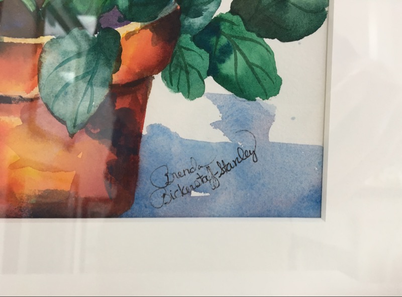 """BRENDA BICKERSTAFF STANLEY WATERCOLOR FRAMED AND MATTED, 22"""" X 18"""""""