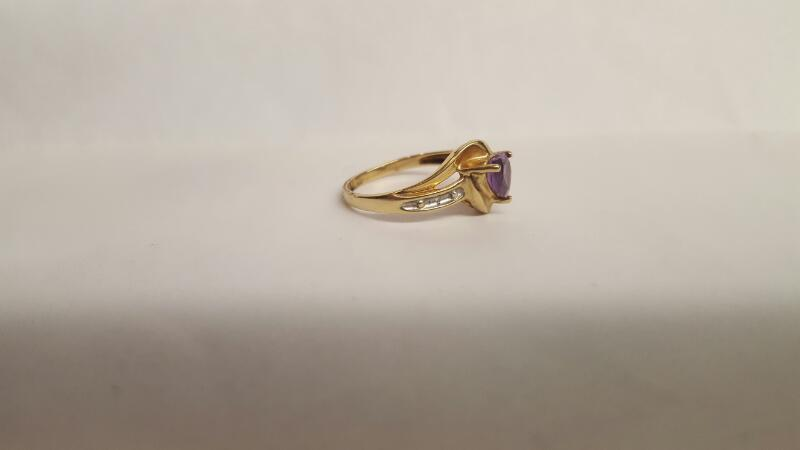 Purple Stone Lady's Stone & Diamond Ring 2 Diamonds .02 Carat T.W.