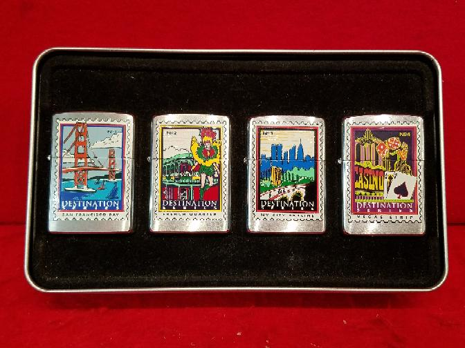 Zippo Destination Series Lighter 4pc Set - SF Bay / French / NYC / Vegas