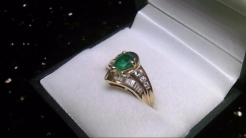 14K Yellow Gold Genuine Pear Emerald & Diamond Ring Sz 7.25