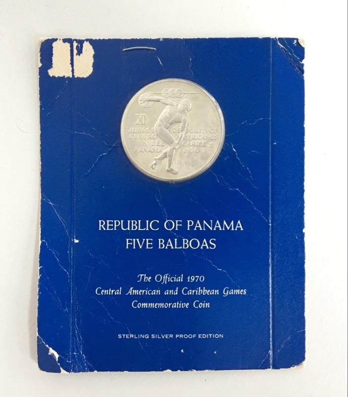 REPUBLIC OF PANAMA FIVE BALBOAS COMMEMORATIVE COIN
