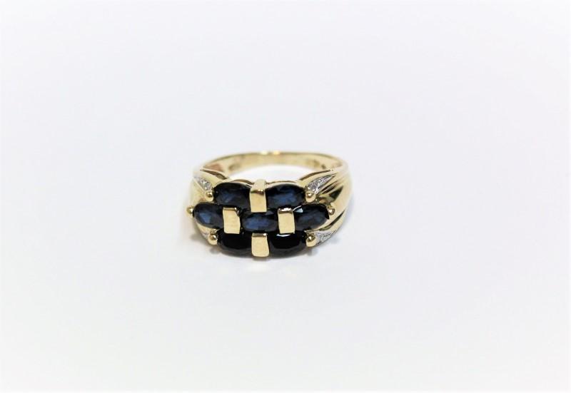Blue Stone Lady's Stone & Diamond Ring 4 Diamonds .04 Carat T.W.