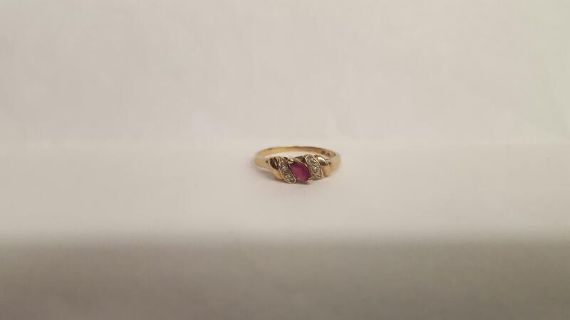 Pink Stone Lady's Stone & Diamond Ring 4 Diamonds .04 Carat T.W.