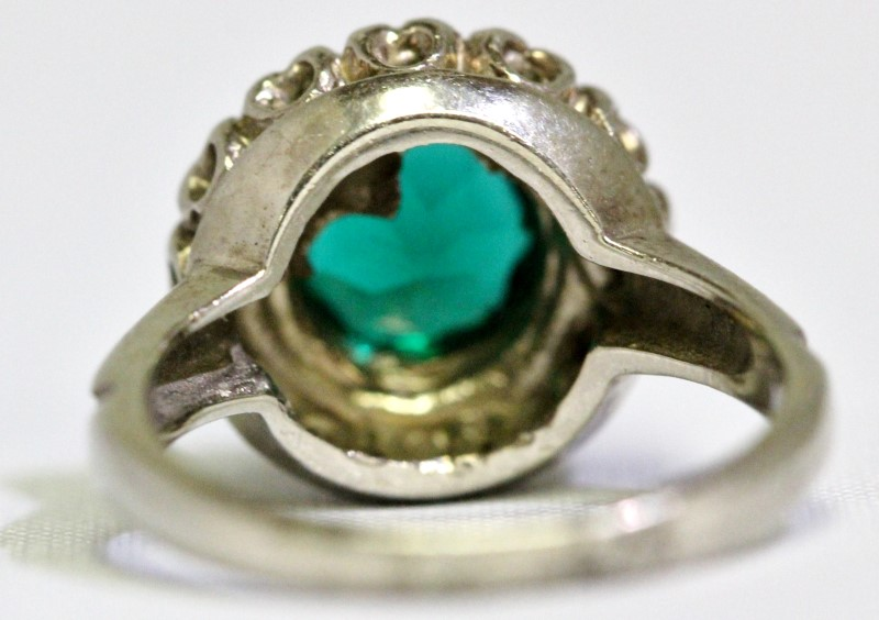 14K White Gold Floral Halo-Style Created Emerald Ring Size: 4 Signed B&C