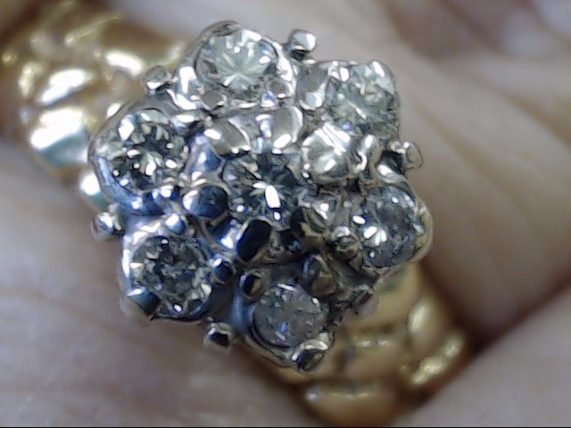 NATURAL 7 DIAMOND CLUSTER 0.32 CTW NUGGET RING REAL 14K GOLD SZ 7.25