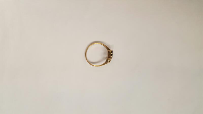 Blue Stone Lady's Stone Ring 10K Yellow Gold 1.4g Size:6.8