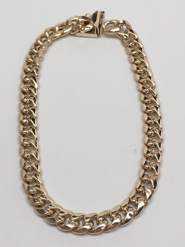 CURB LINK STYLE BRACELET 14K YELLOW GOLD 7.5""