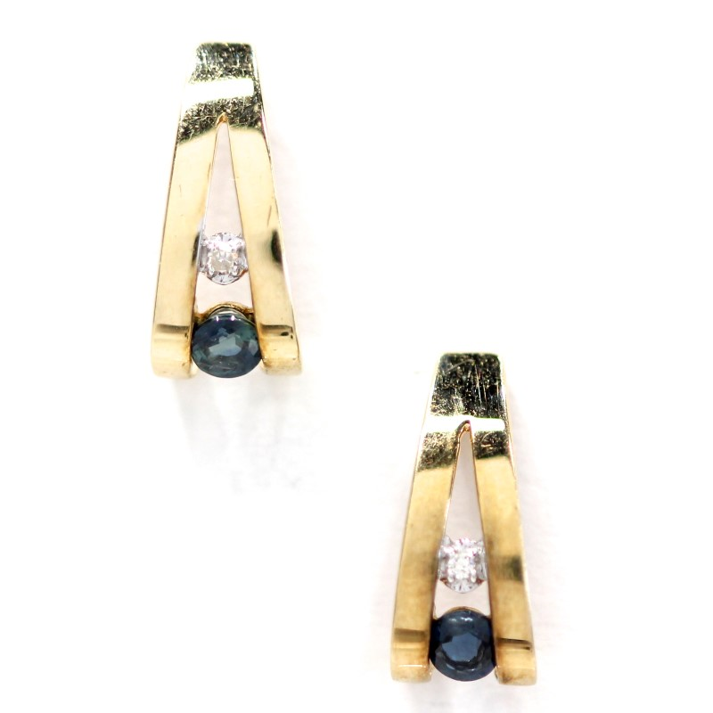 Blue Stone Gold-Stone Earrings 14K Yellow Gold 1.15g
