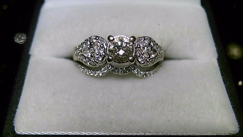 Lady's Diamond Wedding Set 53 Diamonds 1.24 Carat T.W. 18K White Gold 9.05g
