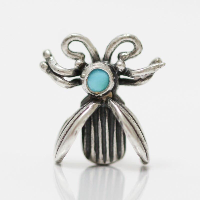 2 Sterling Silver & Round Cut Turquoise Beetle Brooches