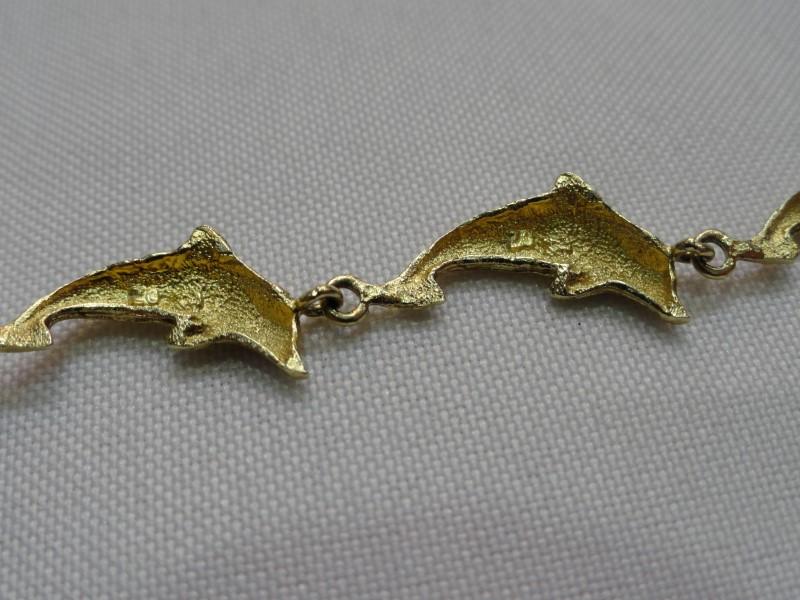 "14kt Yellow Gold Dolphin Link Bracelet 6.7 Grams 7.5"""