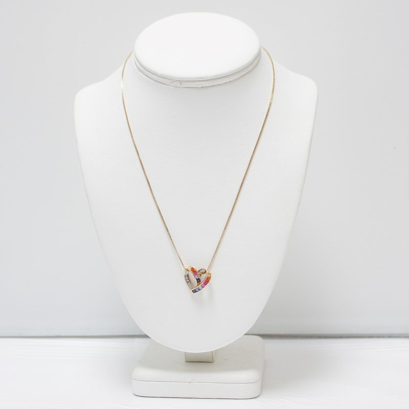 14K Yellow Gold Multi-Colored Stone Heart Necklace