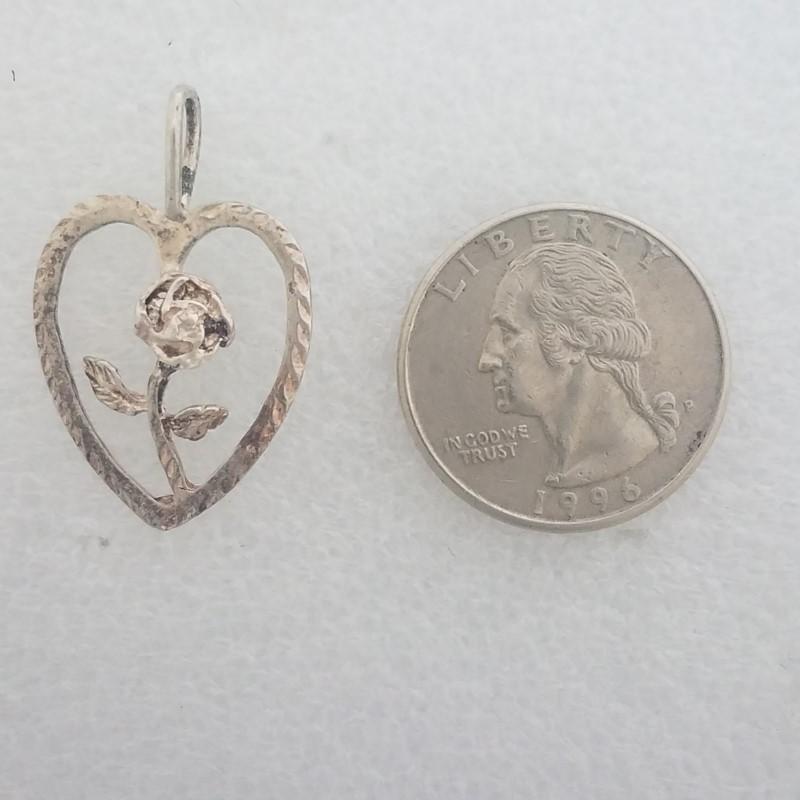 Sterling Silver Open Work, Diamond Cut Rose Flower in Heart Outline Pendant