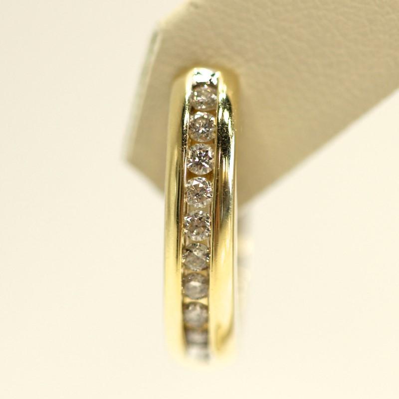 14K Y/G Channel Set Round Brilliant Diamond Latch Back Earrings