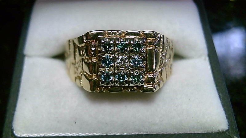 Blue & White Diamonds 10K Yellow Gold Nugget Cluster Ring Sz 14.75