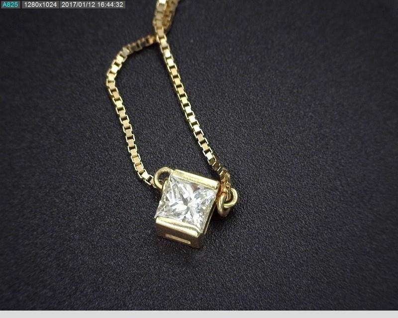 "APX.24C.T.W PRINCESS CUT DIAMOND SOLITAIRE 18""NECKLACE ON BOX CHAIN 14KYG"