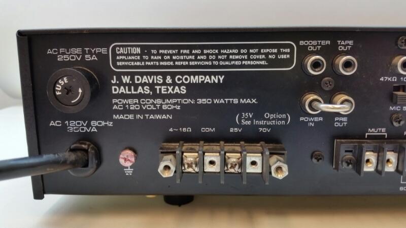J W DAVIS DA-120A PA PUBLIC ADDRESS MIC AMPLIFIER AMP]