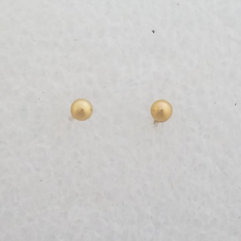 14K Yellow Gold Adorable Classic Plain Polished Gold Ball Stud Earrings