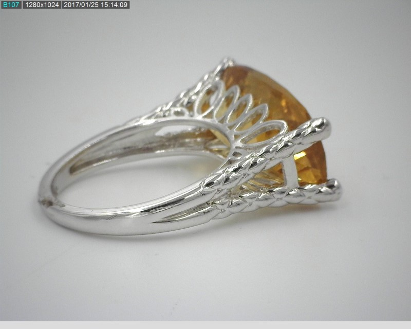 LADY'S STERLING SILVER 8.37CT CITRINE STONE SOLITAIRE RING S925 5.6G SZ.7
