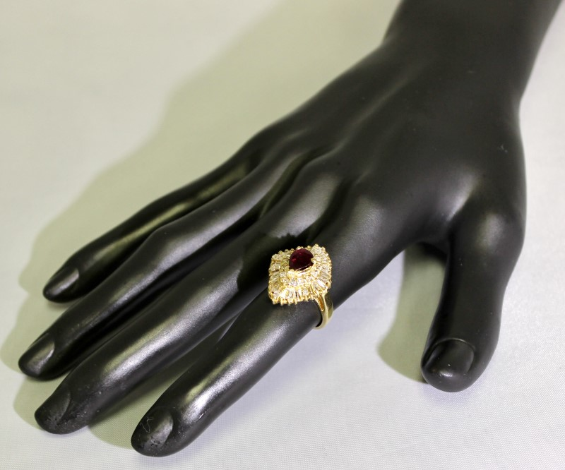 14K Yellow Gold Vintage Inspired Cathedral Pear Ruby & Diamond Cocktail Ring 5.5