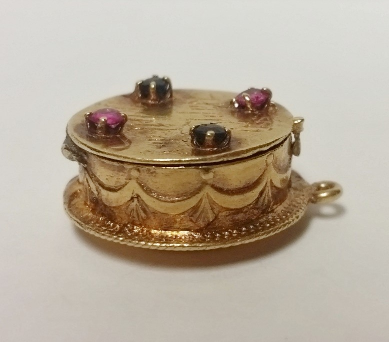 14K Gold Pink Tourmaline & Sapphire Happy Birthday Cake & Candle Charm Locket