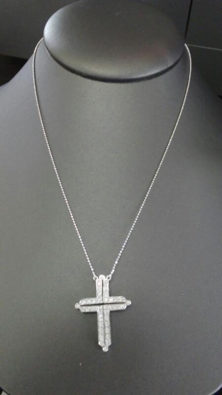 L'S 14KT Diamond Necklace 32 Diamonds .32 Carat T.W. 14K White Gold 5.3g