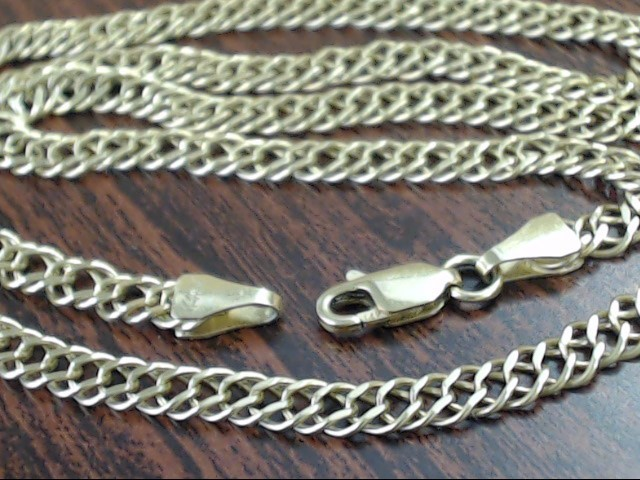 "ESTATE 18"" DOUBLE LINK NECKLACE 4mm CHAIN REAL 14k YELLOW GOLD 9.9g"